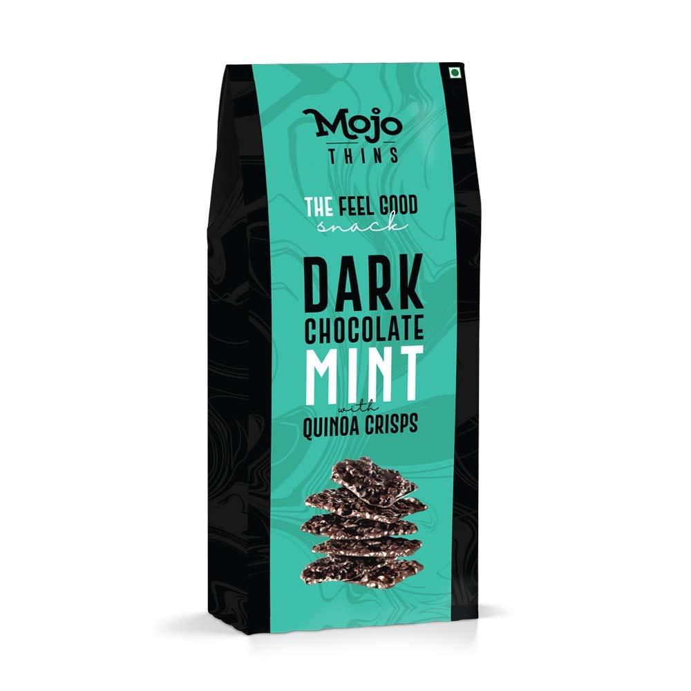 7) Mojo Bar Thins Dark Chocolate Mint with Quinoa Crisps, 100 Gm