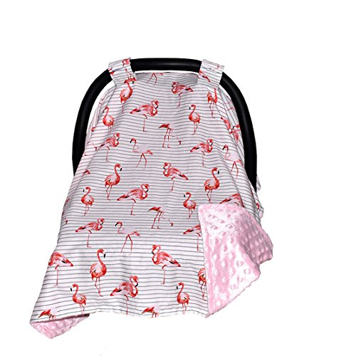 Carseat Canopy and Nursing Cover for Breastfeeding Cool/Warm Weather Infant Car Seat Cover Winter Baby Gifts for Newborn Floral for Boys Girls (Flamingo/Red)