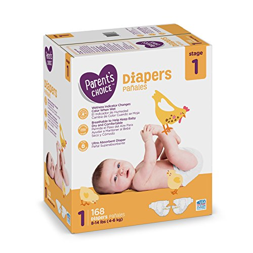 Branded Parent's Choice Diapers, Size 1, 168 Diapers , Weight 8-14lbs - Branded Diapers with fast delivery (Soft and Comfortable for Babies)