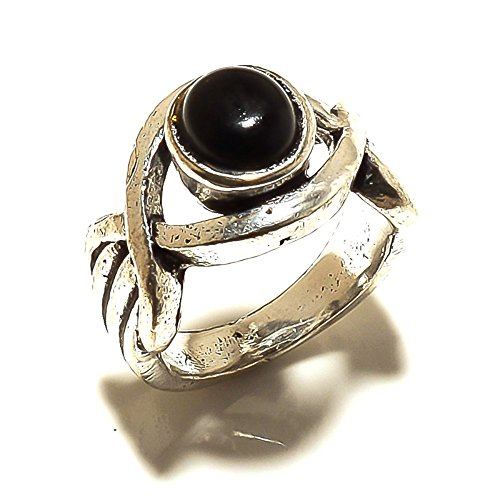 Exotic Wear! Handmade Jewelry! Black Onyx Sterling Silver Overlay Oxidized Ring Size 5.25 US