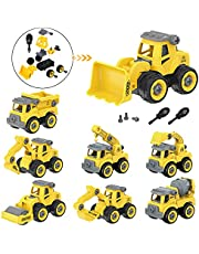 SBT Take Apart 8 PCs Construction Car Truck Toys for Boys, Kids Stem Building Vehicles Toy with Screwdriver, Ideal DIY Gift for Aged 3 4 5 6 Boy Girl Toddler Kid Toy