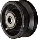 """RWM Casters VIR-0420-08 4"""" Diameter X 2"""" Width Cast Iron V-Groove Wheels with Straight Roller Bearing, 800 lbs Capacity"""