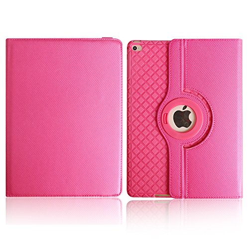 BoriYuan iPad 4&3&2 360 Degree Rotating Stand PU Leather Case Protective Flip Folio Detachable Soft Rubber Cover For Apple iPad 4/ iPad 3/ iPad 2 with Card Slot+Screen Protector+Stylus (Rose Red) Photo #3