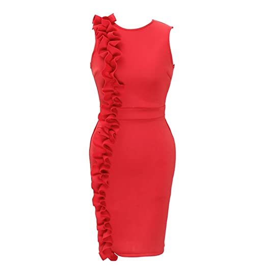 695978cad96b9 LisYOU Women Valentine s Day Gifts Summer Plus Size Vintage Ruffled O-Neck  Sleeveless Pencil Party Dress at Amazon Women s Clothing store