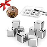 Dernord Ice Cube Stainless Steel Whiskey Stones Chilling Rocks Reusable Wine Stone Durable Beer Drink Freezer Cooler Rock