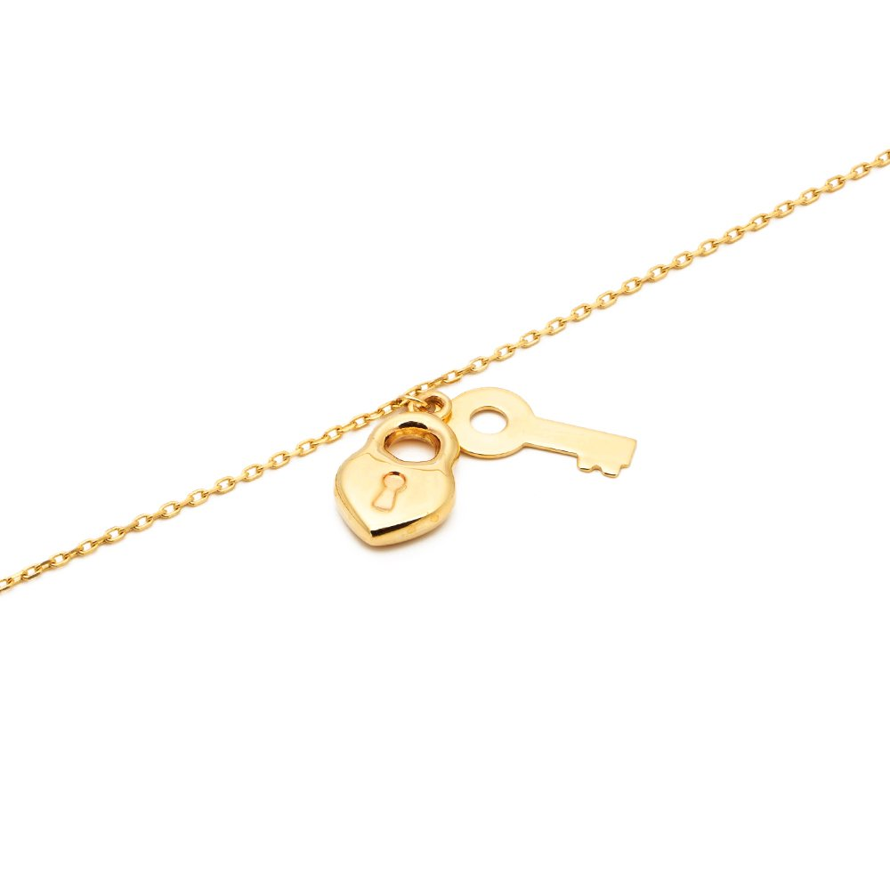 MR. BLING 10K Yellow Gold .50mm D/C Rolo Chain w/ a Lock & Key Charm Anklet Adj. 9'' to 10'' (#10) by MR.BLING (Image #4)