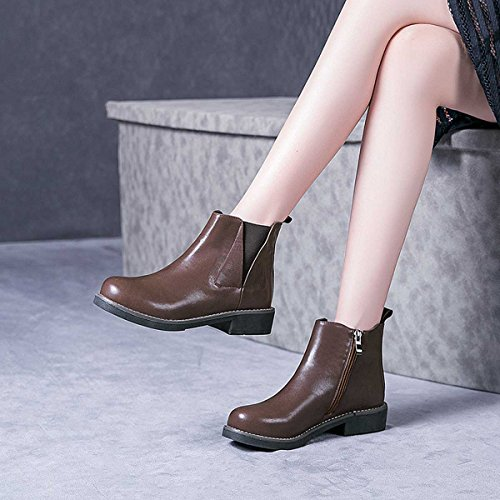 Ankle Style Toe brown Almond Shoes Verocara Genuine Simple Low Leather Cow Boots Chunky Women's Heel A qZPF10