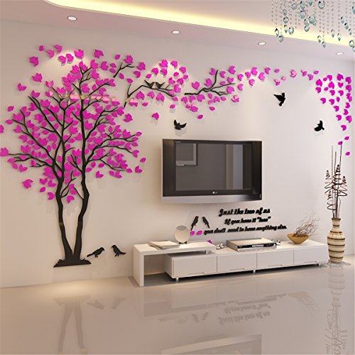 (DIY 3D Giant Couple Tree Wall Decals Wall Stickers Crystal Acrylic Wall Décor Arts (L, Pink, Left to Right))