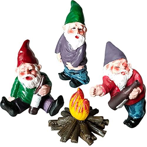 Doicuik 4Pcs Fairy Garden Accessories Garden Gnomes Figurines Miniature Ornaments Mini Resin Dwarf Kit for Fairy Garden…