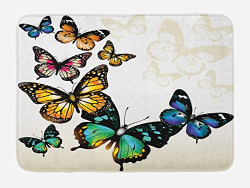 (Ambesonne Butterfly Bath Mat, Vivid Monarch Butterflies Flying Shades Shadows Dreamlike Artsy Fantasy Display, Plush Bathroom Decor Mat with Non Slip Backing, 29.5 W X 17.5 L Inches, Green Yellow)