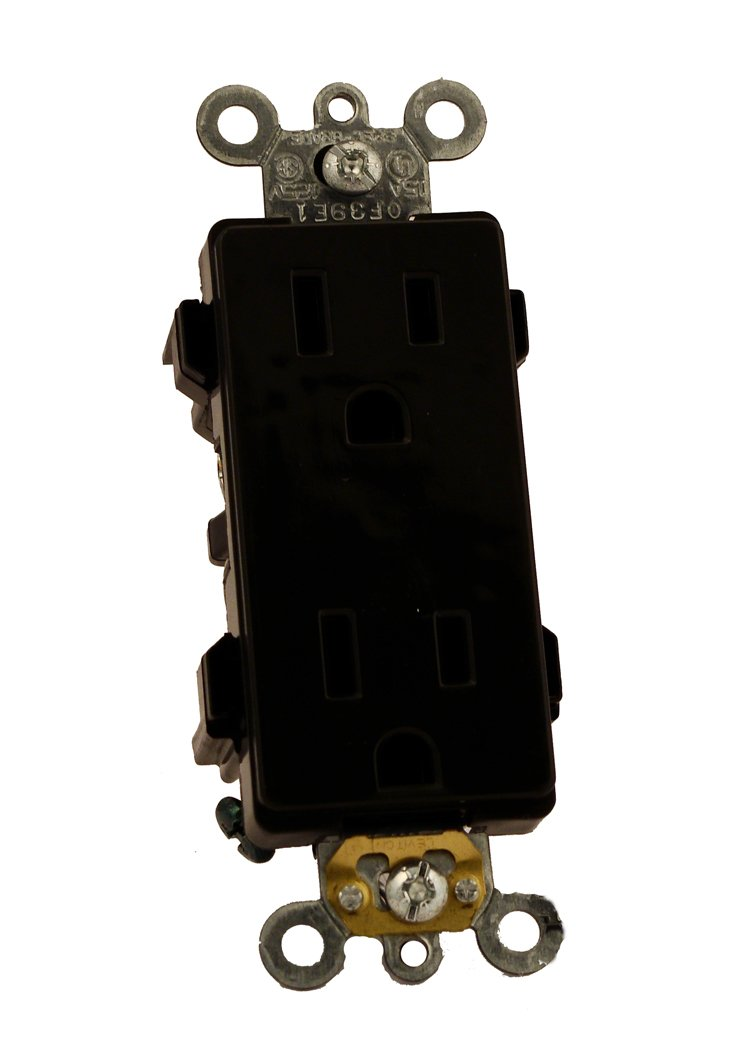 Leviton 16252-E 15 Amp, 125 Volt, Decora Plus Duplex Receptacle, Straight Blade, Commercial Grade, Self Grounding, Black
