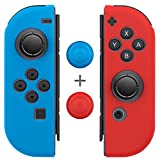 Joy Con Grips (1 Pair / 4pcs), Fosmon Anti-Slip Silicone Joy Con Gel Guards Skin Cover L/R with Thumb Stick Caps for Nintendo Switch Joy Con Controller (Blue/Red) For Sale