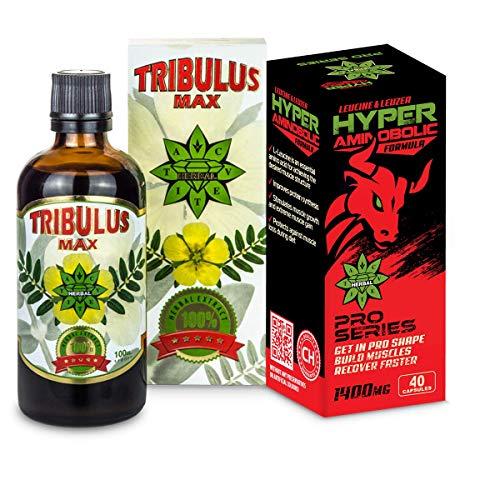 Cvetita Herbal, Tribulus MAX + Hyper Aminobolic Bundle, 100ml Natural Liquid Extract of Bulgarian tribulus terrestris + 40 Capsules (20 x 1400mg Daily dose) of leucine and leuzea carthamoides