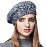 ENJOYFUR Winter Hats for Women,Berets for Women,Knit Beret Hats Zebra Print Lightweight Soft Wool Berets for Women