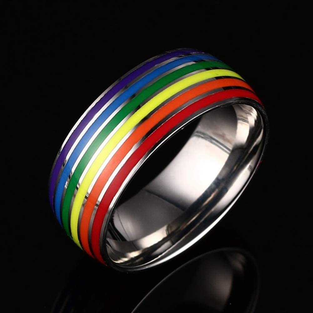 Giney Rainbow Clothing Small Jewelry Titanium Steel Ring Ring Decoration Pride Ring Unisex Small Gift Meaningful Accessories