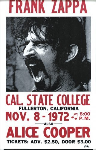 Frank Zappa Vintage Style Concert Poster by Wild Bill's Nostalgia