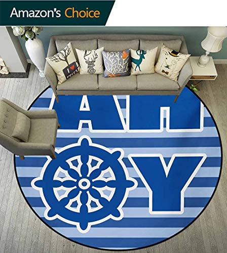 RUGSMAT Ahoy Its A Boy Modern Washable Round Bath Mat,Ahoy Written with Nautical Wheel Striped Nursery Wall Art Design Non-Slip Bathroom Soft Floor Mat Home Decor,Round-59 Inch Blue Pale Blue White
