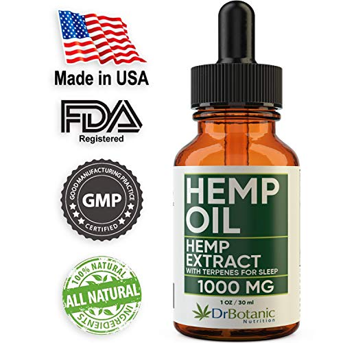 Hemp Oil For Anxiety: With 1000mg Hemp Extract: Valerian Root and Melatonin. Helps Better Sleep, Stress, Inflammation, Pain Relief. Tincture Drops Rich in Omega 3-6-9.