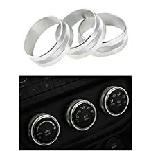 Danti 3pcs Audio Air Conditioning Button Cover Decoration Twist Switch Ring Trim for Jeep Wrangler JK JKU Compass Patriot 2011-2016(Silver)