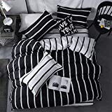 LAMEJOR Duvet Cover Set Queen Size Simplicity Black and White Striped Pattern Reversible Bedding Set Comforter Cover (1 Duvet Cover+2 Pillowcases)