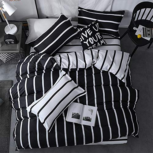 Black White Comforter Sets - LAMEJOR Duvet Cover Set Queen Size Simplicity Black and White Stripes Pattern Bedding Set Comforter Cover (1 Duvet Cover+2 Pillowcases)