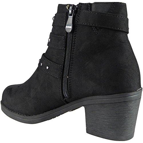 Ankle Boots Bow 3 Faux Size Mid Black Heel Work Ladies Zip Suede 8 Buckle RxZwq0