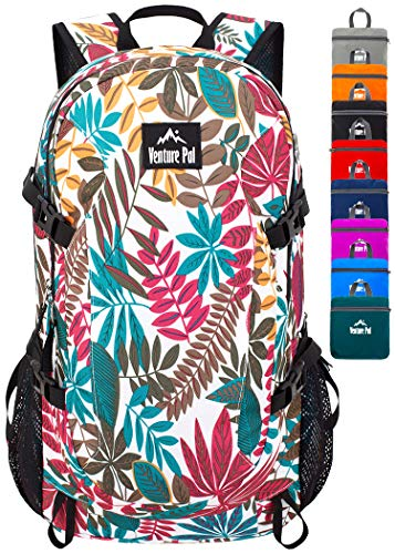 Venture Pal 40L Lightweight Packable Backpack with Wet Pocket - Durable Waterproof Travel Hiking Camping Outdoor Daypack for Women Men-White Leaf