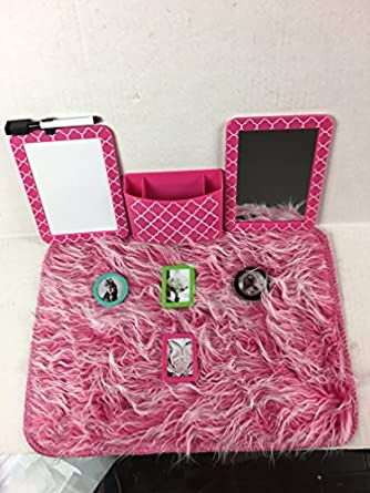 School Locker Organizer Accessories Kit with: Rug, Magnetic Mirror, Message  Dry Erase Board, Picture Frames, and Bin