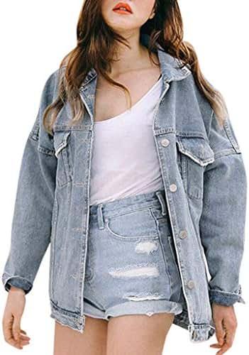 NOMUSING Jacket for Women Work Casual Retro Oversize Loose Button Denim Jeans Pocket Coat Outwear Fashion Outerwear