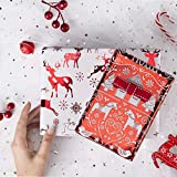 RUSPEPA Christmas Gift Wrapping Paper-Red and White Paper with a Metallic foil Shine-Christmas Elements Collection-4 Roll-30Inch X 10Feet Per Roll