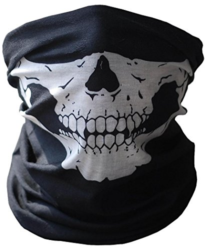 [1 Piece Halloween Cosplay Bicycle Ski Skull Mask Half Face Mask Ghost Scarf Neck Warmer] (Different Types Zombie Costumes)