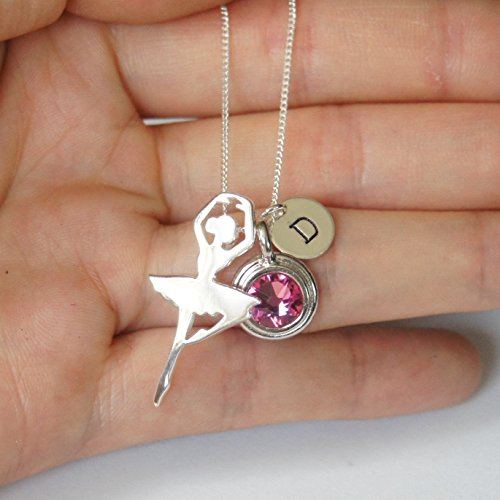 Sterling silver ballerina necklace, Personalized initial necklace, Swarovski birthstone necklace
