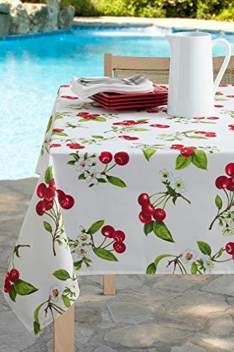 Benson Mills Indoor Outdoor Spillproof Tablecloth for Spring/Summer/Party/Picnic (Cherries Jubilee, 60