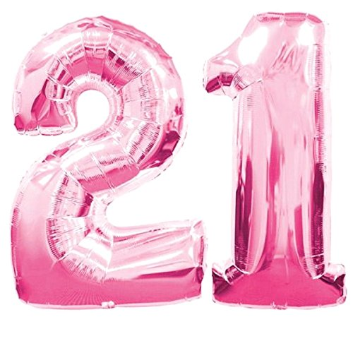 "Giant 21st Pink Number Balloon - 40"" Premium Quality Latex Birthday Balloon Set - Perfect For Parties & Celebrations - Balloon 21st Weight"