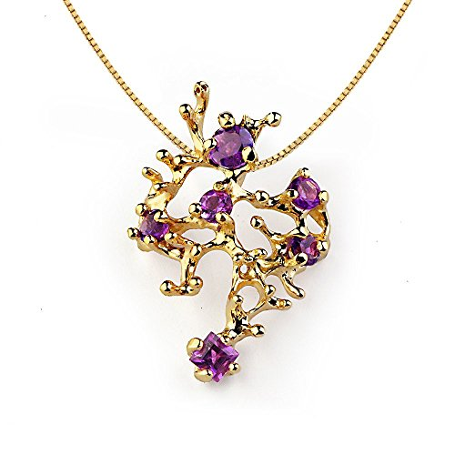 18k Yellow Gold Plated Sterling Silver, Genuine Purple Amethyst Gemstone, Coral Reef Organic Pendant Necklace by Arosha