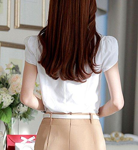 Caf coton courtes femme Chemisier World en pour Putao manches pliss YxFSpInz