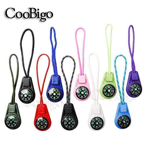 (Compass Zipper Pull Outdoor Backpack Bag Parts Camping Hiking Travel Kits #CS018C(10 pcs Colorful))
