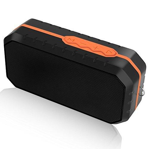 Ifecco Portable Bluetooth Speaker, Wireless Waterproof Shockproof Speaker with Build-in Microphone for Indoor and Outdoor (Orange + Black)