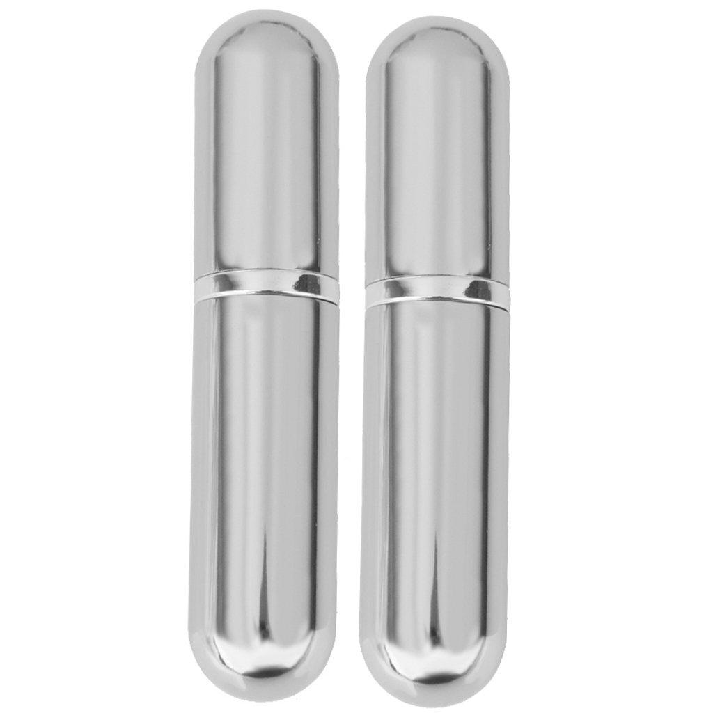 2x Mini Bottiglia Profumo Viaggo Ricaricabili Pompa Atomizzatore Portatile 6ml - Argento brillante Generico