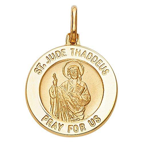 14k Yellow Gold Religious Saint Jude Thaddeus Medal Charm Pendant (15 x 15 - Gold Jude