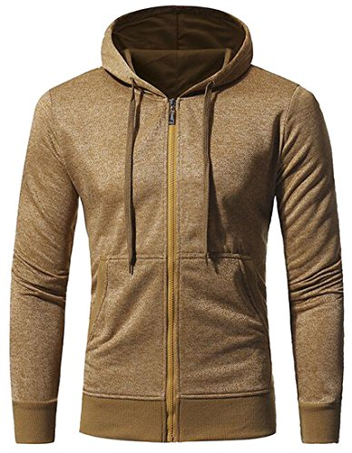 LD Mens Casual Active Full-Zip Hooded Sweatshirt Jacket Coat Outwear