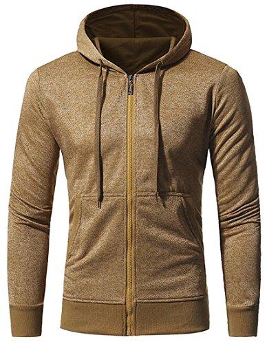 LD Mens Casual Active Full-Zip Hooded Sweatshirt Jacket Coat Outwear