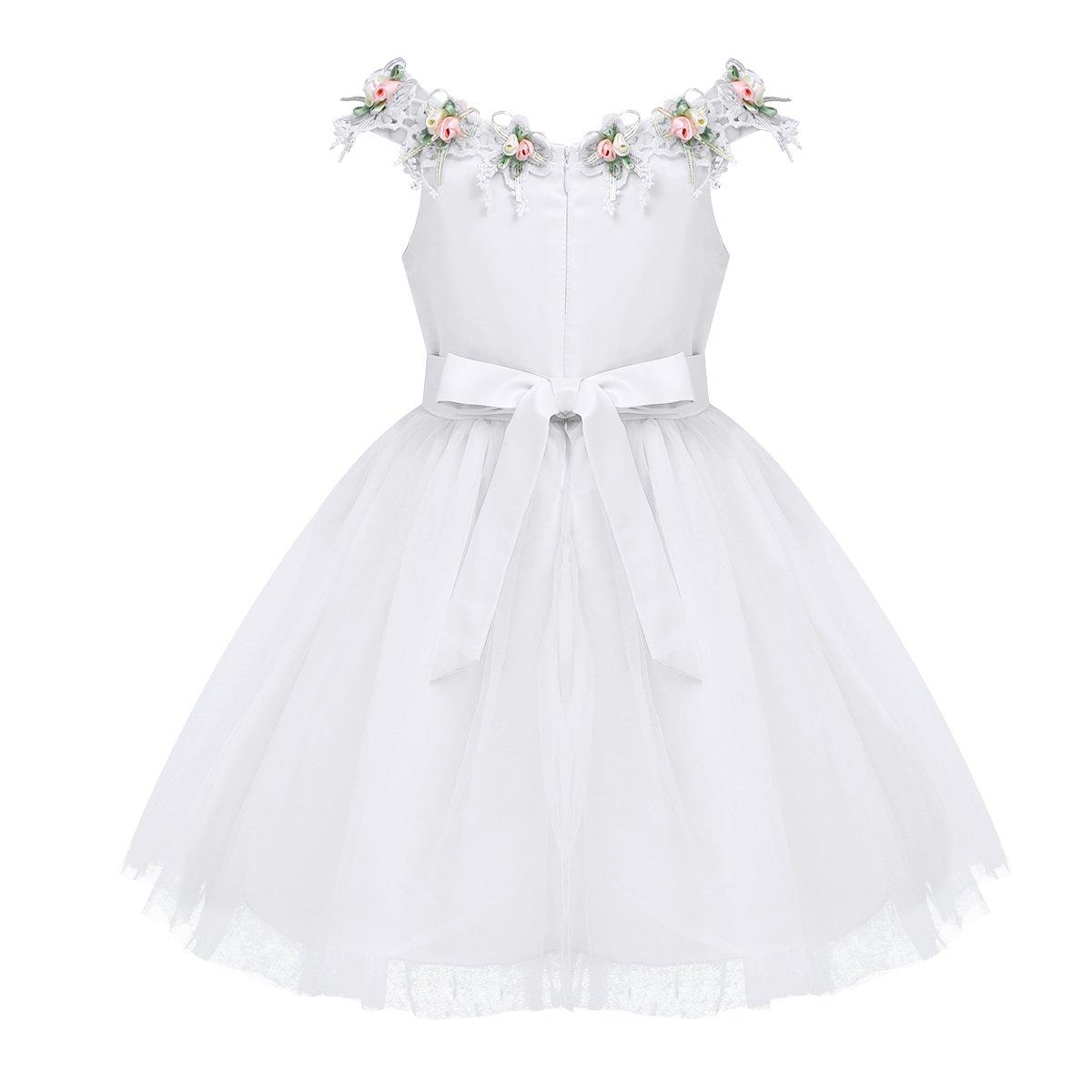 Freebily Baby M/ädchen Satin Kleid mit Blumen S/ü/ßes Prinzessin Kleid Festlich Hochzeit Blumenm/ädchenkleid Partykleid Rosa Wei/ß Blau in Gr.74-116