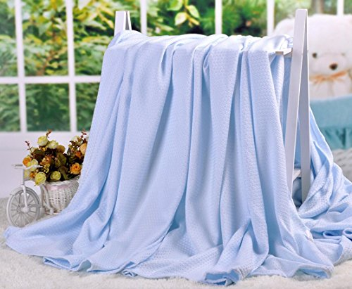 LAGHCAT Air Condition Cooling Throw Blankets - Lightweight Bamboo Fiber Knitted Throws Solid Summer Thin Blanket for Couch,Sofa,Bed. Sleeping Cover for Adults Chidren Kids Blue - 79 x 90 Inch