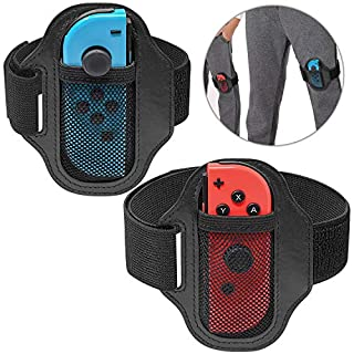 Fyoung Leg Band Strap for Nintendo Switch Ring Fit Adventure Game, Adjustable Elastic Sport Movement Leg Band- 2 Pack