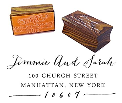Custom Wood Mounted Rubber Stamp Personalized Family Return Address Stamp Wedding Gift Printtoo