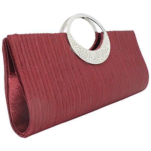 Bag Fashion Handle Women Burgundy Purse Top Wocharm Bridal Wallet Evening Handbag Glittery Party Wedding Diamante Ladies Clutch Bag xYZd4qw7