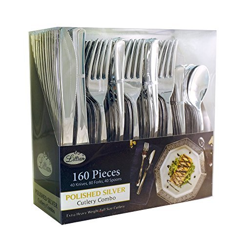 Plastic Cutlery Silverware Extra Heavyweight Disposable Flatware, Full Size Cutlery Combo, Polished Silver, 80 Forks, 40 Spoons, 40 Knifes, Value Pack 160 Count]()
