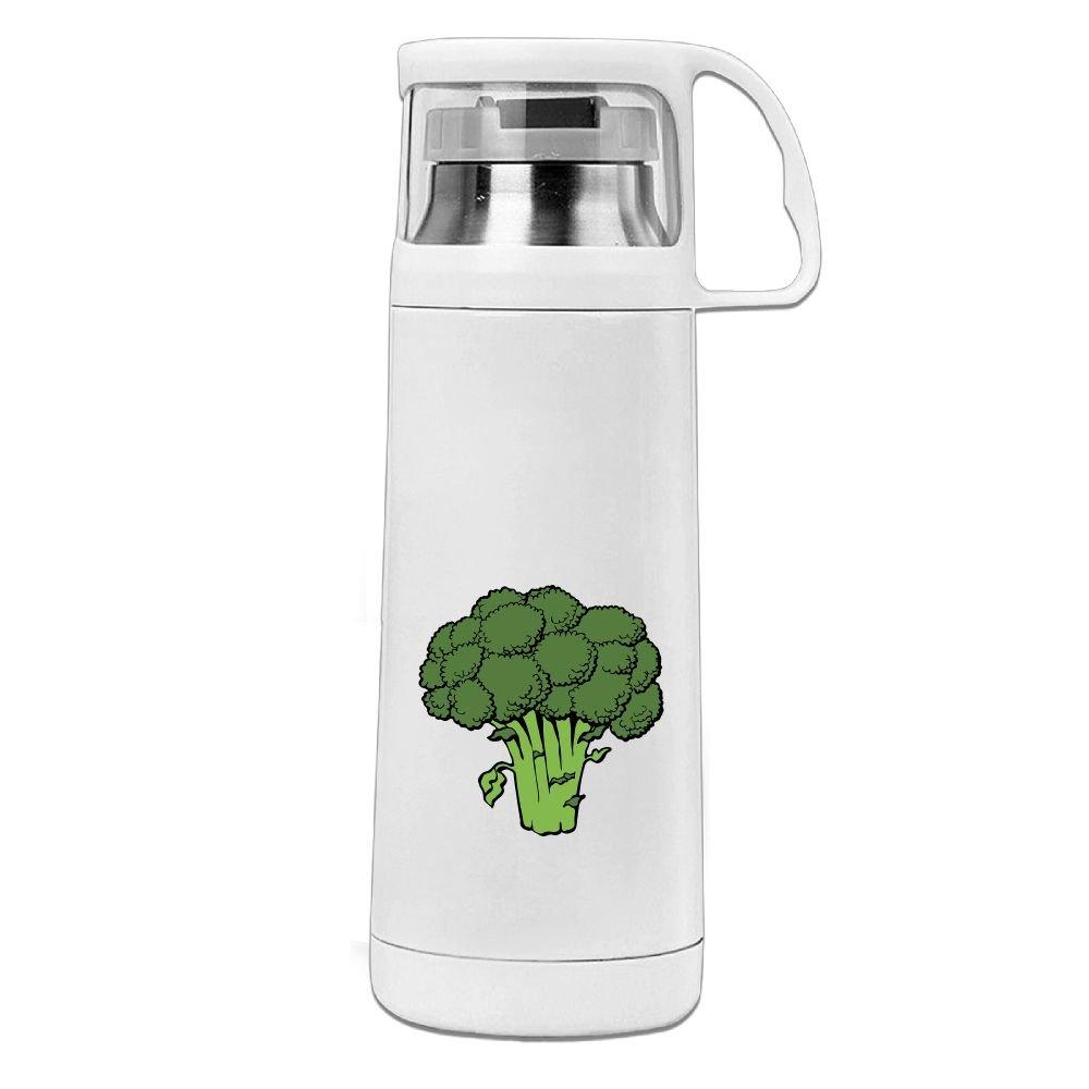 カレンGarden Broccoliステンレススチール真空断熱ウォーターボトルリークプルーフHandledマグホワイト、12oz B078578FVB