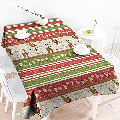 EwaskyOnline Spill-Proof Table Cover,Christmas Chinese Style Lettering Merry Christmas Deer Pines Stars Border Lines,High-end Durable Creative Home,W54x90L, Green Dark Coral White (Merry Christmas And Happy New Year Lettering Design)